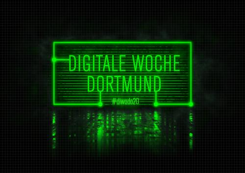 Digitale Woche Dortmund in neongrüner Schrift