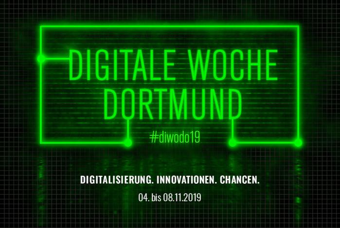 Digitale Woche Dortmund in neongrüner Schrift mit Datum 04. bis 08.11.2019