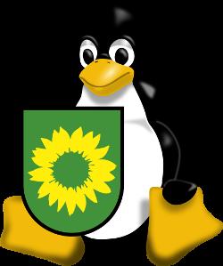 Tux mit GRÜNEN-Wappen