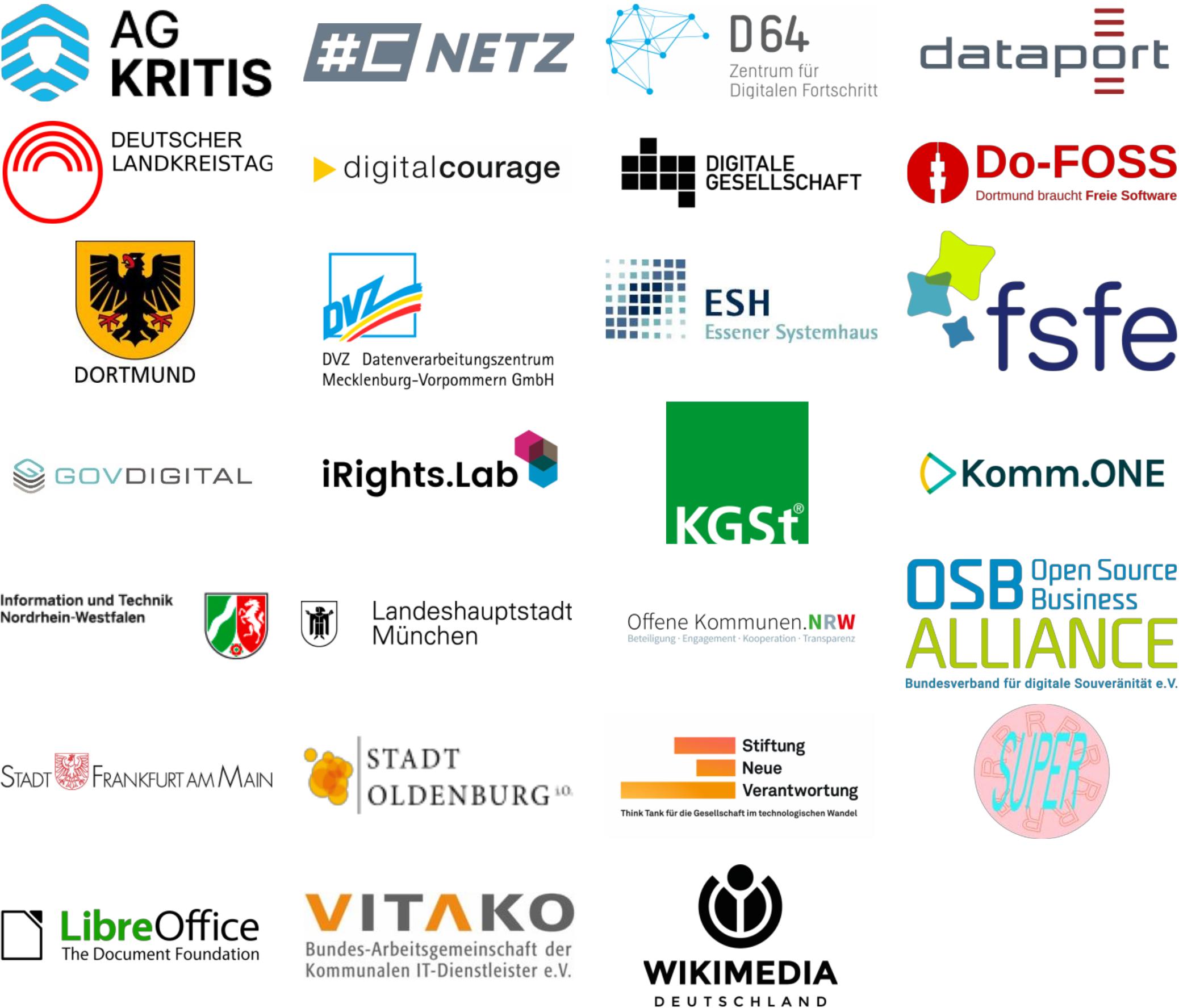 Logos der Unterstützer für ein öffentliches Code-Repository